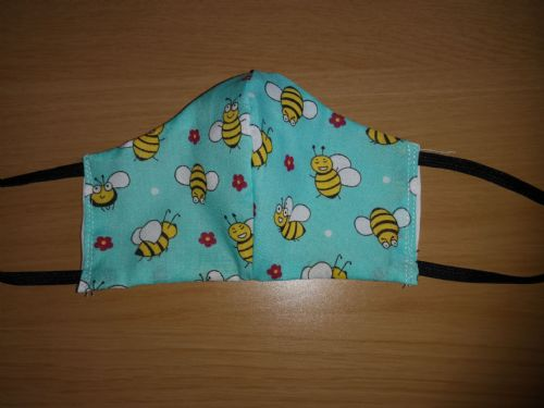 Handmade Breathable Eco Friendly Cotton Face Mask blue bee Adjustable Ribbon Ties Or Elastic